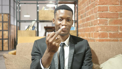 Black Businessman Showing Middle Finger Footage