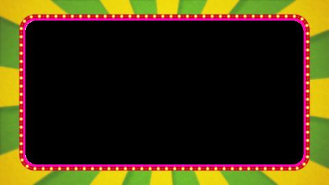 黄緑・黄色の放射線の枠アニメーション・赤の電飾・アルファ付き CG動画
