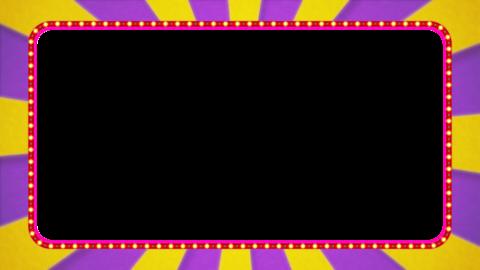 紫・黄色の放射線の枠アニメーション・赤の電飾・アルファ付き CG動画