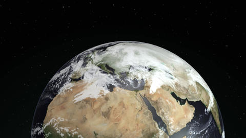 Beautiful sunrise world skyline. Planet earth from space. Planet Earth rotating Animation
