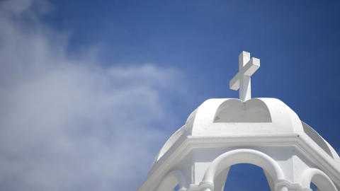 Detail of dome or dome whitewashed church of a typical Andalusian Live Action
