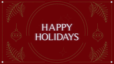 Animated closeup Happy Holidays text and Christmas toys and try branches on holiday background Animation