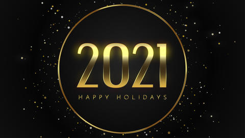 Animated closeup 2021 and Happy Holidays text with fly gold snowflakes and glitter on holiday Animation
