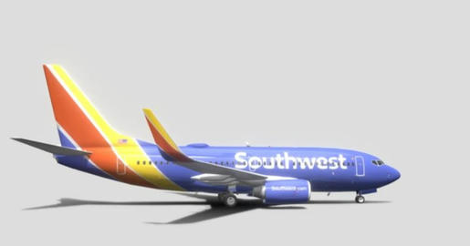 Boeing 737 7h4 southwest airlines 3D Model