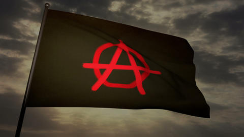 Anarchist flag 03 Stock Video Footage