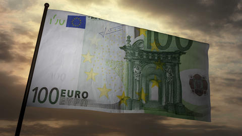 100 Euros bill flag 03 Stock Video Footage