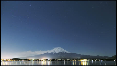 timelapse of Mt. Fuji at night Footage