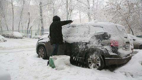 clear snow car 01 Footage