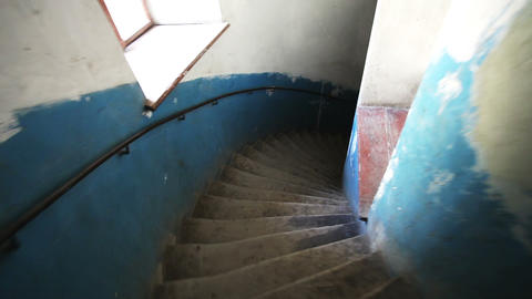 Vintage spiral stairs POV, slow motion Stock Video Footage