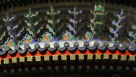 Temple of Heaven in Beijing.China ancient architecture.Painted Carved beam tile Footage