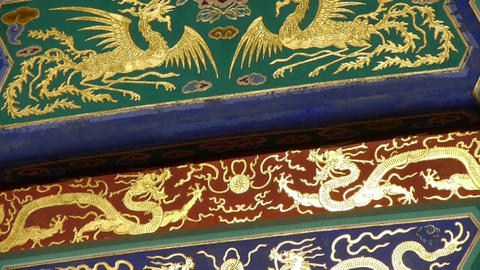 Magnificent Painted Carved beam girders.China Beijing ancient architecture Footage
