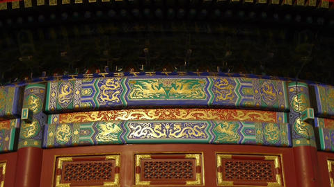 Magnificent Painted Carved beam girders.China Beijing... Stock Video Footage