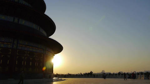 Temple of Heaven in Beijing.China's royal ancient architecture in sunset shining Footage
