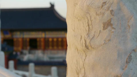 Long white stone jade railing at sunset.China ancient... Stock Video Footage