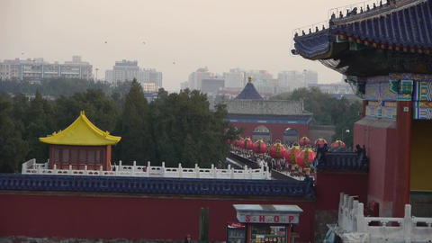 China's ancient architecture.Tourists visitors at red... Stock Video Footage