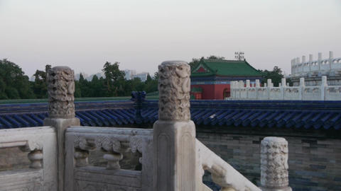 white stone jade railing at sunset.China ancient... Stock Video Footage