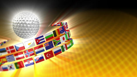 Golf Ball With International Flags 56 (HD) stock footage