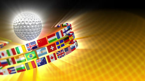 Golf Ball with International Flags 56 (HD) Stock Video Footage
