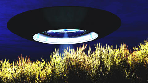 Ufo Scanning over Wheat Field Ufo 14 Stock Video Footage