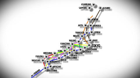 4 K Japan Cities Subway Map Design 2 Stock Video Footage