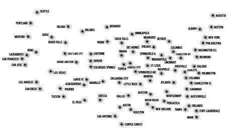 4 K USA Main Cities Subway Map Design 1 Stock Video Footage