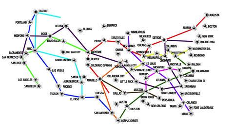 4 K USA Main Cities Subway Map Design 1 Animation