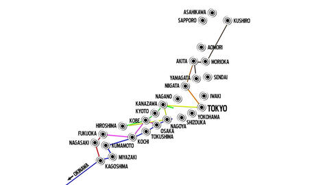 Japan Cities Subway Map Design 1 Animation