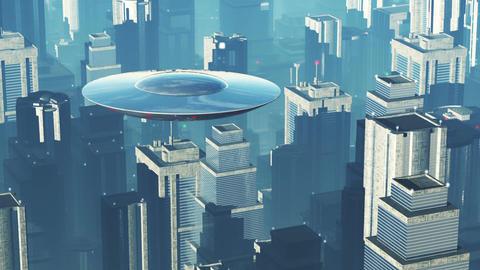 UFO in Futuristic Metropolis 1 Stock Video Footage
