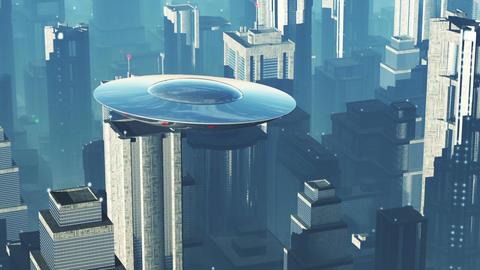 UFO in Futuristic Metropolis 1 Animation