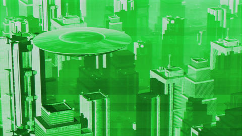 UFO in Futuristic Metropolis 3 Stock Video Footage