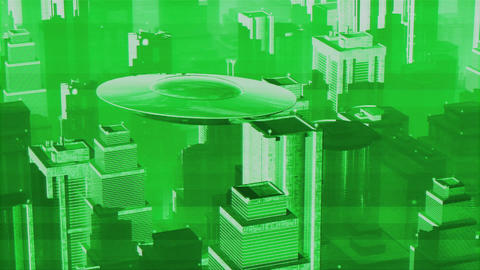 UFO in Futuristic Metropolis 3 Animation