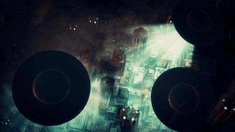 UFO Invasion Scanning in Metropolis 2 Stock Video Footage