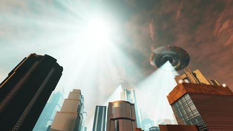 UFO Invasion Scanning in Metropolis 6 Stock Video Footage