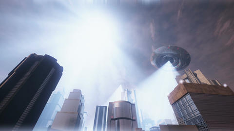 UFO Invasion Scanning in Metropolis 8 Animation