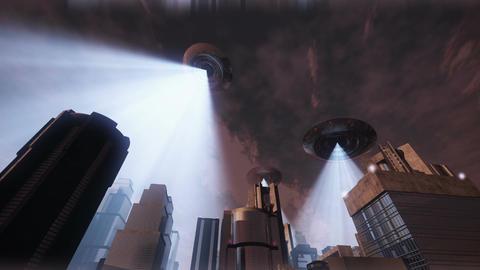 UFO Invasion Scanning in Metropolis 8 Stock Video Footage