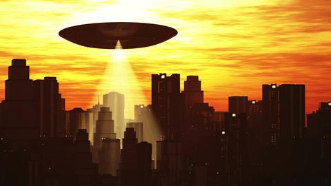 UFO Scanning over Metropolis 7 Stock Video Footage