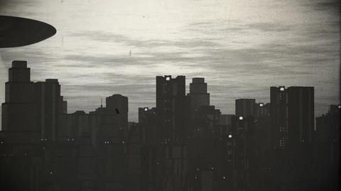 UFO Scanning over Metropolis 9 vintage Stock Video Footage
