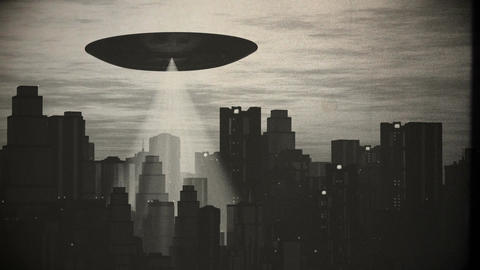 UFO Scanning over Metropolis 9 vintage Animation