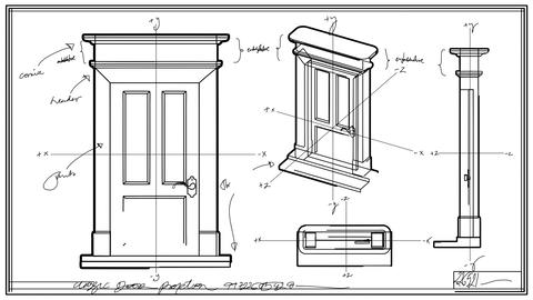 Door Technical Drawing Time Lapse Animation
