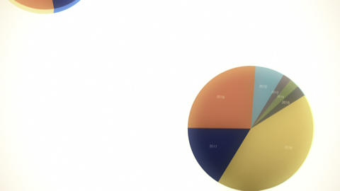 Falling, Bouncing Pie Charts in Slow Motion Stock Video Footage