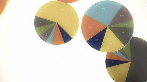 Falling, Bouncing Pie Charts in Slow Motion Animation