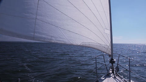 Sailing yacht. Staysail Stock Video Footage