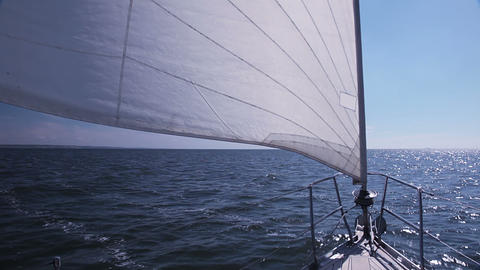 Sailing Yacht. Staysail stock footage