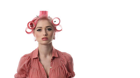 beauty woman portrait of pin-up girl and umbrella Stock Video Footage
