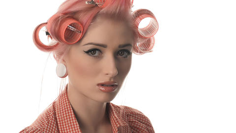 beautiful portrait of pin-up girls with glasses Stock Video Footage
