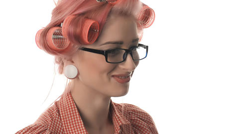 beautiful portrait of pin-up girls with glasses Footage