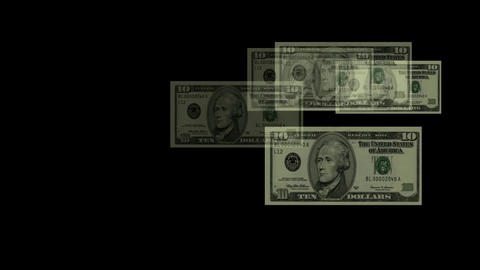 Float 10 dollars background Stock Video Footage