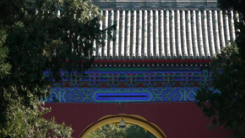 People walk in cypress trees park road,China Beijing red door ancient buildings Footage
