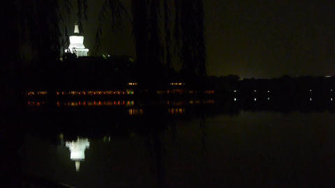 China Beijing ancient Chinese architecture White Tower reflection in water Footage