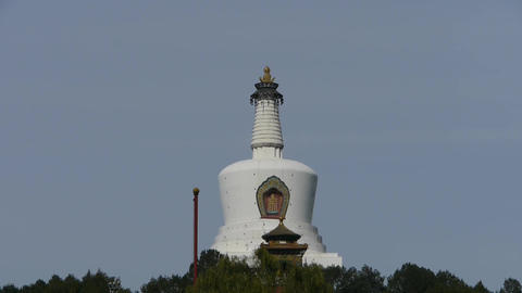 panoramic view of BeiJing BeiHai Park White Tower & Tibet Tibetan Buddhism Footage